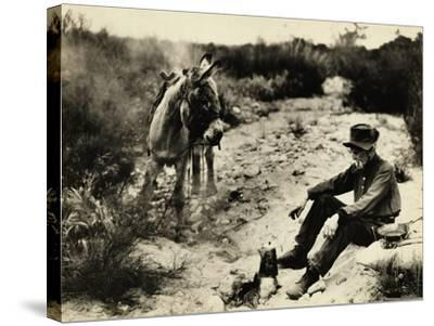 Prospector Preparing Meal for Himself--Stretched Canvas Print