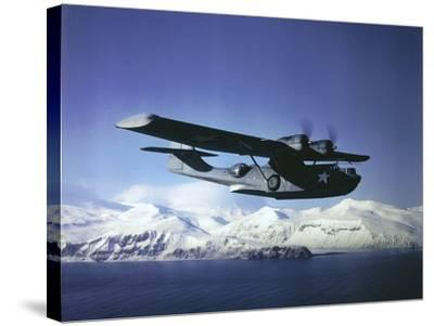 Us Navy Pby Catalina Bomber in Flight--Stretched Canvas Print