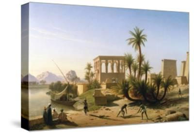 Catching the Crocodile-Jean Francois Portaels-Stretched Canvas Print