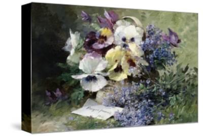Pansies and Forget Me Not-Albert Tibulle de Furcy Lavault-Stretched Canvas Print