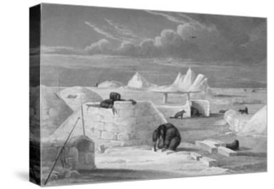 Illustration of Inuits Building an Igloo-Edward Finden-Stretched Canvas Print