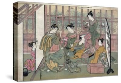 A Brothel in Shinagawa: First Page of a Shunga Set--Stretched Canvas Print