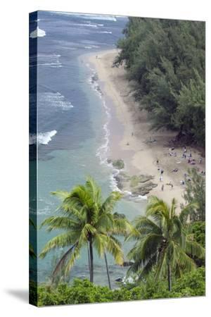 Ke'E Beach from the Kalalau Trail on the Na Pali Coast of Kauai, Hawaii-Rich Reid-Stretched Canvas Print