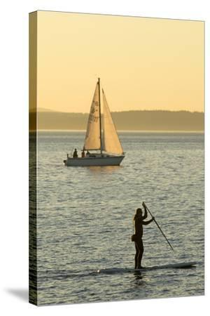 USA, Washington, Seattle. Watersports on the Puget Sound.-Steve Kazlowski-Stretched Canvas Print