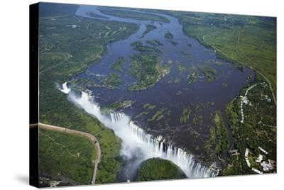 Victoria Falls and Zambezi River, Zimbabwe/Zambia border-David Wall-Stretched Canvas Print