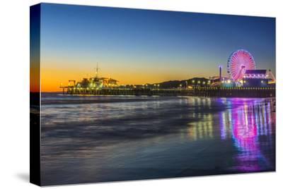 USA, California, Los Angeles, Santa Monica Pier Twilight-Rob Tilley-Stretched Canvas Print