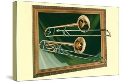 Two Trombones in Frame--Stretched Canvas Print