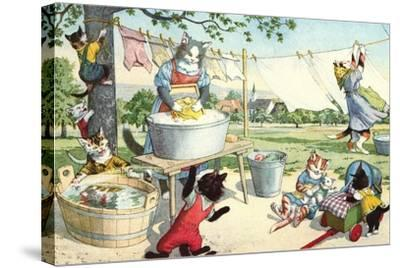 Crazy Cats Hanging Up Laundry--Stretched Canvas Print