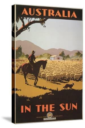 Australia Travel Poster, Sheep--Stretched Canvas Print
