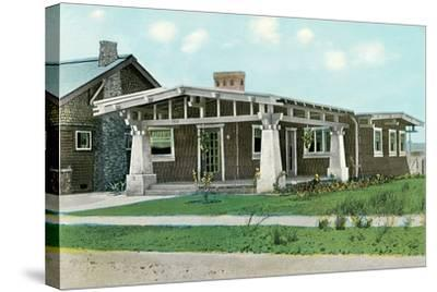 Craftsman House with Pillars--Stretched Canvas Print