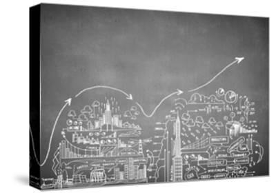 Chalk Drawn Business Plan Sketch-Sergey Nivens-Stretched Canvas Print