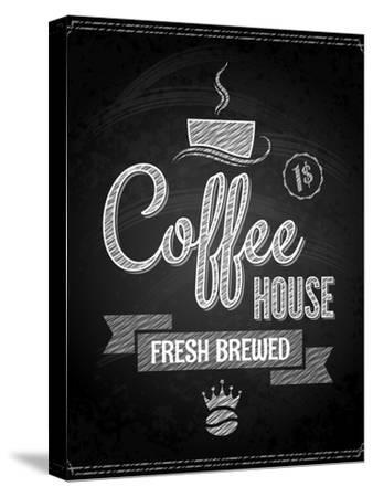 Coffee Menu Design Chalkboard Background-Pushkarevskyy-Stretched Canvas Print