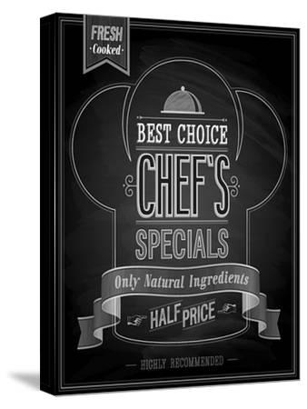 Chef's Specials Poster Chalkboard-avean-Stretched Canvas Print