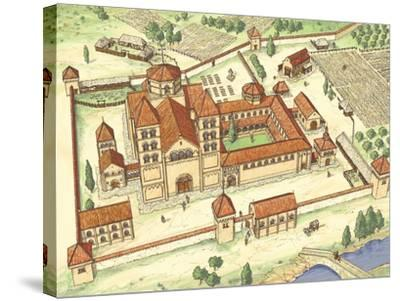 Romanesque Abbey, Model-Fernando Aznar Cenamor-Stretched Canvas Print