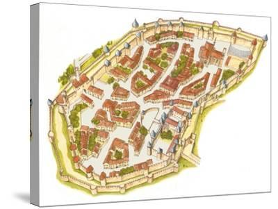 Carcassonne, France, Aerial View-Fernando Aznar Cenamor-Stretched Canvas Print