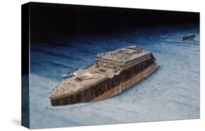 Painting of the Sunken Titanic with the Submersible Alvin at the Bow-Pierre Mion-Stretched Canvas Print