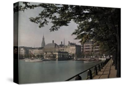 A View of Binnenalster Lake Surrounded by the Alster Pavillion-Hans Hildenbrand-Stretched Canvas Print