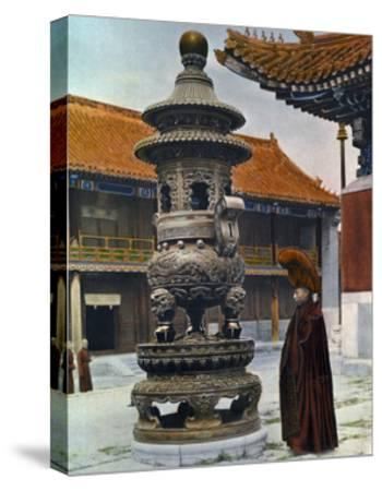 Painting of a Monk in Ceremonial Robes Beside a Bronze Incense Burner-H. C. and J. H. and Deng White and Bao-Ling-Stretched Canvas Print
