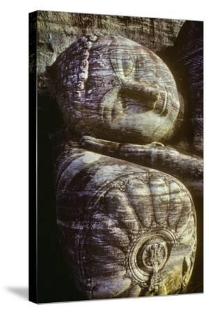 The Head of the Gal Vihara Reclining Buddha Statue at Polonnaruwa, Sri Lanka-David Hiser-Stretched Canvas Print