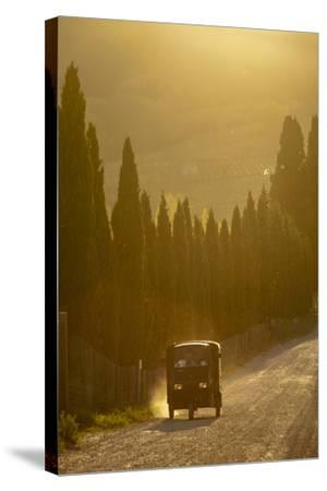 A Three Wheeled Van Drives Up a Dirt Road Lines with Cypress Trees-Tino Soriano-Stretched Canvas Print