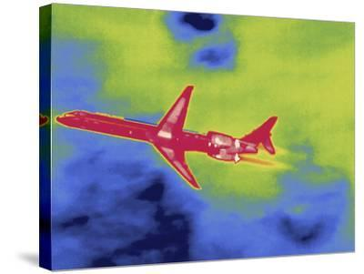 Thermal Image of an Airplane Taking Off from Reagan W. National Airport-Tyrone Turner-Stretched Canvas Print