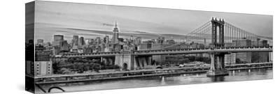 Night View of the Manhattan Bridge, the Empire State Building and the East River-Kike Calvo-Stretched Canvas Print
