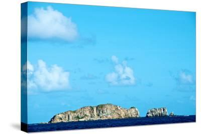 Blue Sky with Puffy Clouds over Rock Formations Off the Coast of the British Virgin Islands-Heather Perry-Stretched Canvas Print
