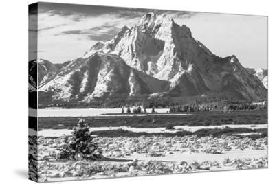 A Black and White Photograph of Mount Moran in the Teton Mountains in Winter-Greg Winston-Stretched Canvas Print