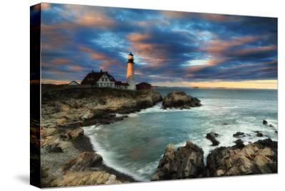 A Dramatic Sky at Sunset over the Portland Head Light-Robbie George-Stretched Canvas Print