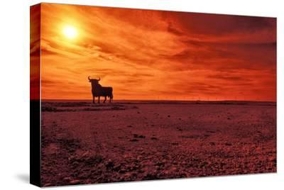 Toro De Osborne, an Unofficial National Symbol of Spain, First Created in 1956 by Manolo Prieto-Kike Calvo-Stretched Canvas Print