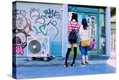 Young Women Window Shop on Harajuku's Cat Street-Heather Perry-Stretched Canvas Print