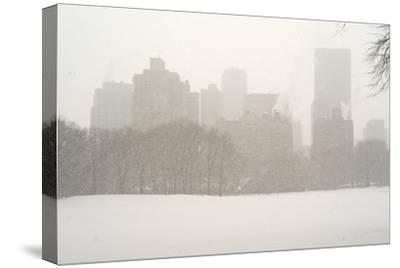 Manhattan Buildings and Trees in Central Park During a Blizzard-Kike Calvo-Stretched Canvas Print