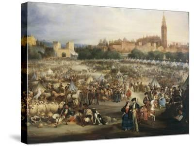 The Fair of Seville, the Cathedral and Giralda in Background-Andrea Appiani-Stretched Canvas Print