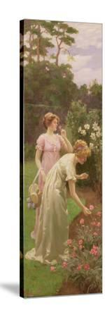 Two Ladies Picking Flowers-Charles Louis Ambroise Thomas-Stretched Canvas Print