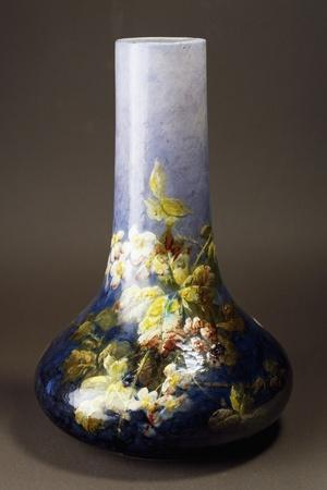 Vase with Impressionist-Style Floral Decorations, Circa 1880-Albert Boue and Georges Delvaux-Stretched Canvas Print