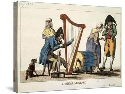 Caricature of Modern Ossian, 1806-Francois Quesnelel-Stretched Canvas Print
