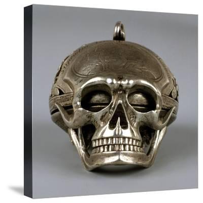 Skull-Shaped Clock, Silver and Gilt Brass, Geneva, Switzerland-Jean Sauve-Stretched Canvas Print