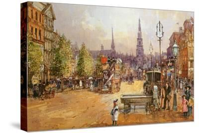 Cab Stand in the Strand-John White-Stretched Canvas Print