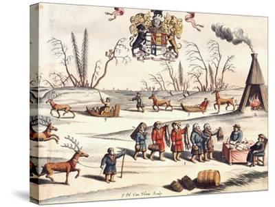 Reindeer Shepherds, Lapland-Joan Blaeu-Stretched Canvas Print