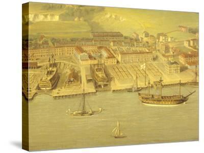 The Royal Dockyard at Woolwich, Near London, 1790-Nicholas Pocock-Stretched Canvas Print