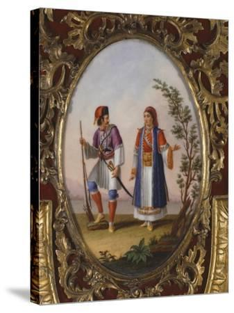 Medallion with Scene Depicting Traditional Dress from Campania, Italy-Raimondo Compagnini-Stretched Canvas Print