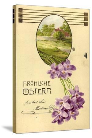 Präge Litho Glückwunsch Ostern, Haus, Bäume, Veilchen--Stretched Canvas Print