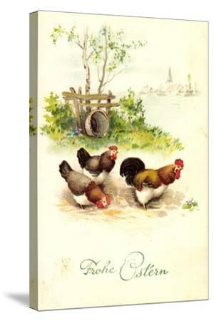 Glückwunsch Ostern, Hahn Mit Hennen Auf Dem Hof--Stretched Canvas Print