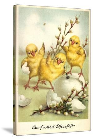 Glückwunsch Ostern, Küken Mit Weidenkätzchen--Stretched Canvas Print