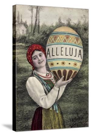 Künstler Glückwunsch Ostern, Alleluja, Frau, Tracht--Stretched Canvas Print