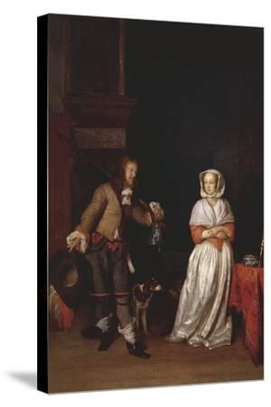 Italy, Florence, Lady and Knight--Stretched Canvas Print