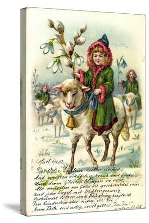 Glückwunsch Ostern, Mädchen Reitet Auf Einem Schaf--Stretched Canvas Print