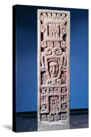 Mexico, Xochicalco, Painted Stone Stele of Birth of Quetzalcoatl--Stretched Canvas Print