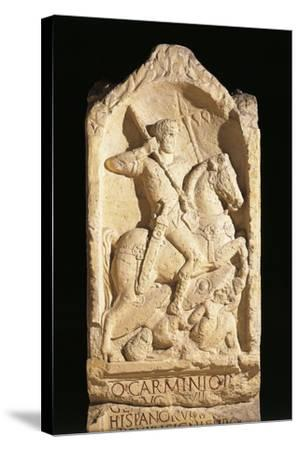 Stele of Quinto Carminio Ingenuo, Depicting Man on Horseback--Stretched Canvas Print