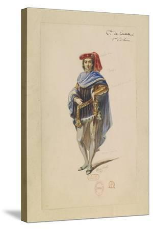 France, Paris, Costume Sketch for Count Di Luna in the Troubadour--Stretched Canvas Print